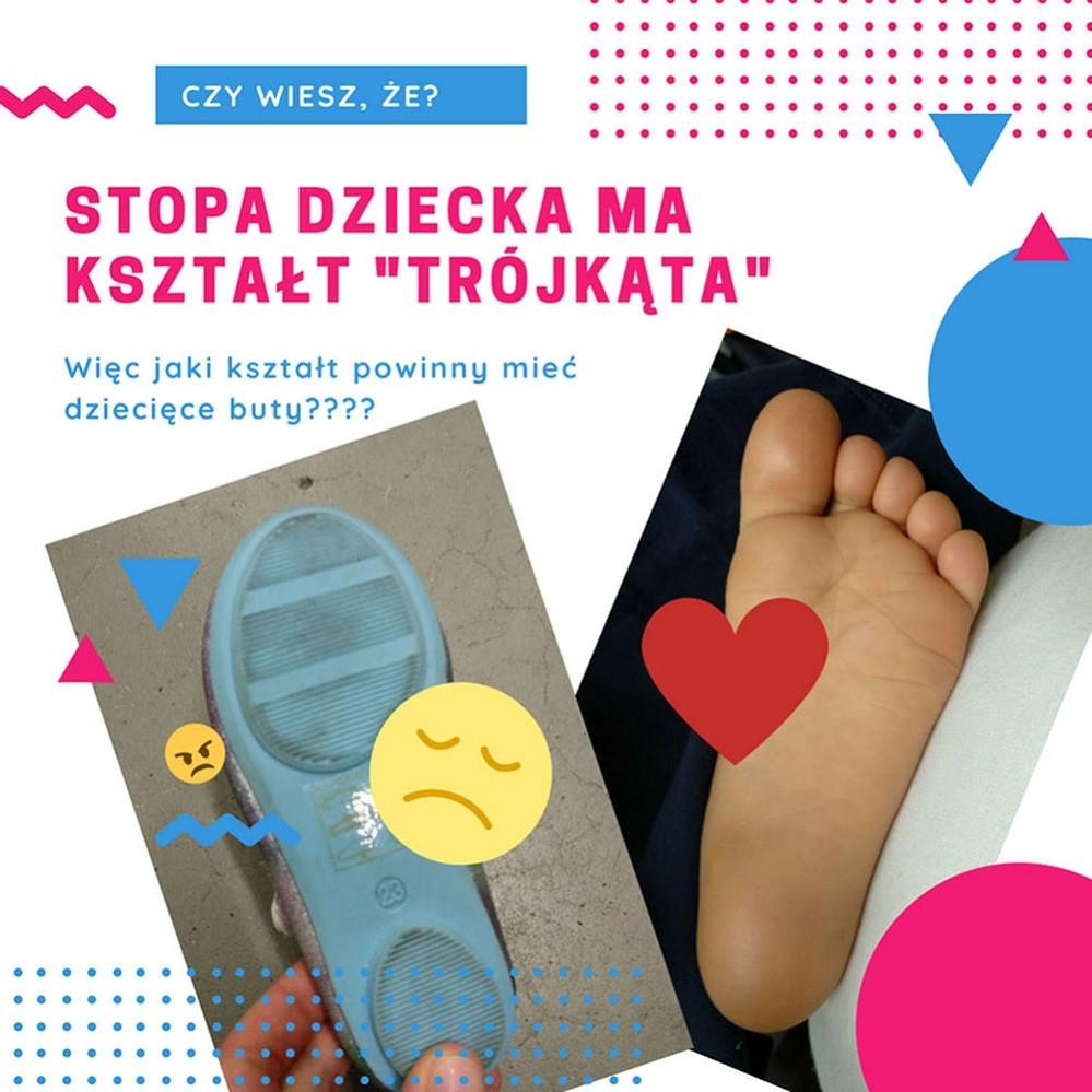 Porównanie anatomii stopy dziecka do popularnych butów dla dzieci